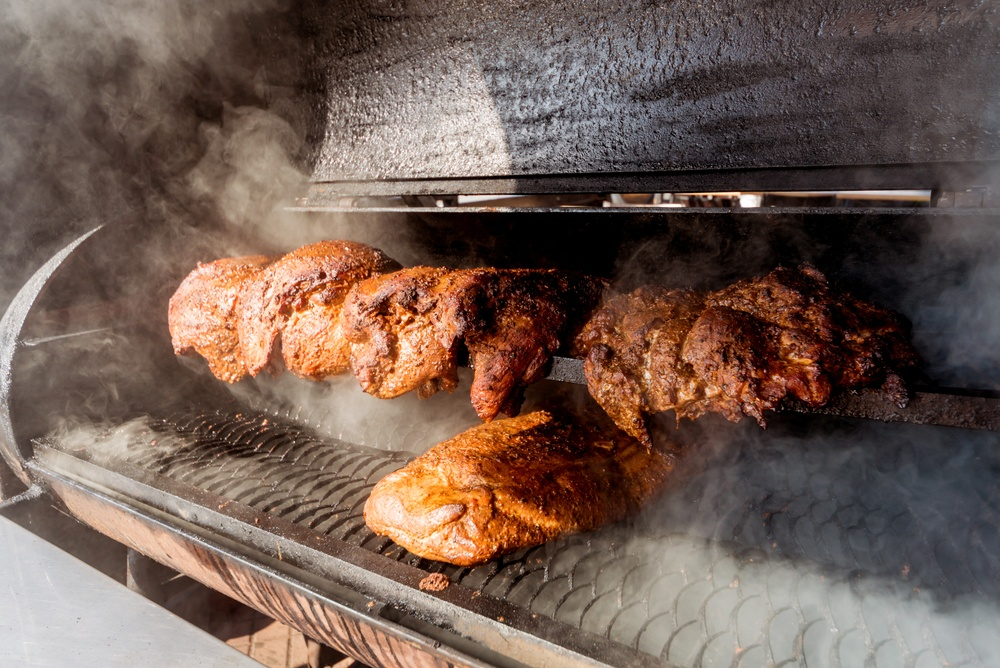 Meat on an outdoor smoker